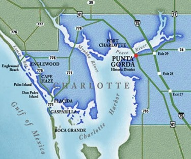 Punta Gorda juts into Charlotte Harbor at the point where the Peace River flows into the harbor